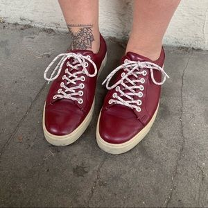 Size 8 red leather Frye sneakers